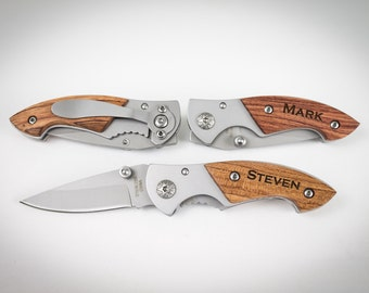 Ring Bearer Gift, 7 Engraved Pocket Knife, Personalized Groomsmen Gift,Rosewood Knife, Personalized Wedding Favor, Knife, Wedding Party Gift