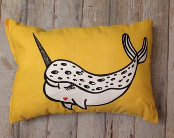 Narwhal pillow, Narwhale cushion, Narwhales throw pillow, narwhal room decor, monochrome narwhals, living room cushion