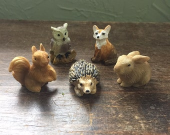 Fairy Garden 5pc Set | Miniature Woodland Animal Critter Figurines | Forest Creature Statues | Hedgehogs, Foxes, Squirrels, Owls & Rabbits