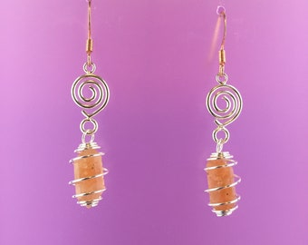 Spirals Silver Copper Orange Pecos Diamonds Quartz Crystals Earrings Gift Statement Jewelry