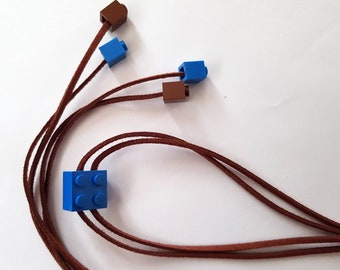 LEGO,Jewelry, Brown, Blue, Tan Leather Wrap Bracelet Choker Necklace Accessory,Funny