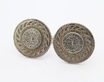 Vintage Aztec Calendar Cufflinks in Sterling Silver. [7885]