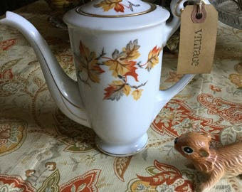 Lovely Vintage Craftsman China-Japan Teapot-Multi Fall Leaves Design