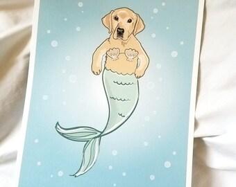 Yellow Labrador Retriever Mermaid - Bikini Shell Top - Eco-Friendly 8x10 Print
