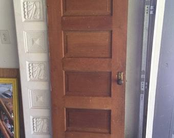 Vintage Paneled Wooden Door Headboard Barn Door Sliding Door Wall Decor  Bedroom