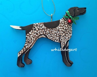 German Shorthaired Pointer Handpainted Christmas Ornament