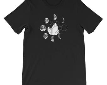 Crystal Moon Phases Black Short-Sleeve Unisex T-Shirt