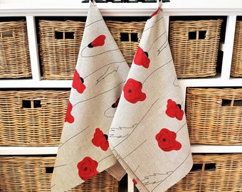 Handmade Poppies Tea Towels Kitchen Towels Dish Towels.