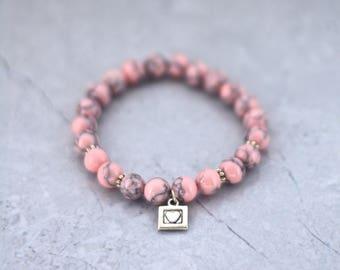 Beads bracelet women bracelet, bracelet, semi-precious stones, gems, pink magnesite heart charm, gift, pink, heart gift