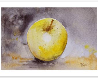 Golden Delicious Apple, Original Still Life Painting, Small Art Painting, Watercolor Painting Yellow Painting, Modern Kitchen Art, Christmas