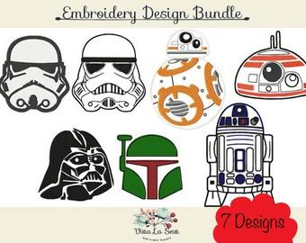 Star Wars /Starwars Embroidery Design Bundle, 7 different designs
