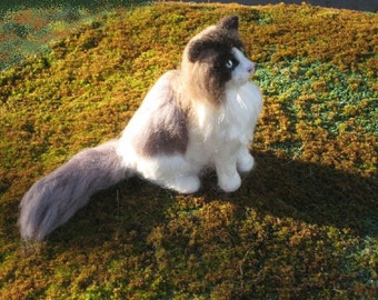 Needle Felted Cat / Custom Pet Portrait by Gourmet Felted / example Ragdoll