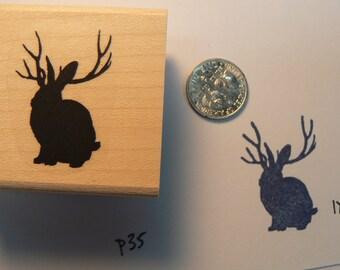 Jackalope rubber stamp P35