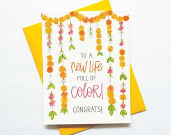 A new life full of color - indian wedding congratulations card