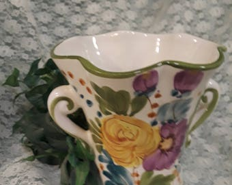 Hand paitned Floral Vase made in Portugal exculusively for FTD -1970's