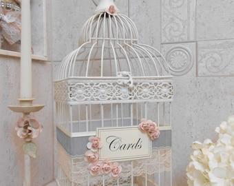 Cream Wedding Birdcage Card Holder | Wedding Card Box | Gray Velvet | Blush Wedding Decor | Velvet Wedding