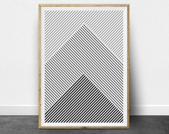 Geometric Print, Geometric Art, Black and White Stripes, Printable Art, Black and White Print, Minimalist Art, Printable Wall Art, Lines Art