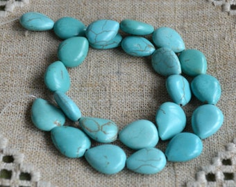 Blue Green Magnesite 12x8mm Teardrop Natural Gemstone Beads 16 Inches