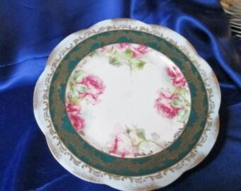 Antique Austrian Plate ,Floral Motif, Gold Trim. Wedding Gift,Housewarming Gift, Anniversary Gift, Collectible