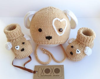 Baby merino wool hat and booties | Puppy hat and booties set