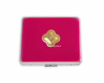 Quatrefoil Weekly Pill Box inlaid in Hand Painted Fuchsia Opaque Enamel Gothic Inspired with Personalized and Color Options Available
