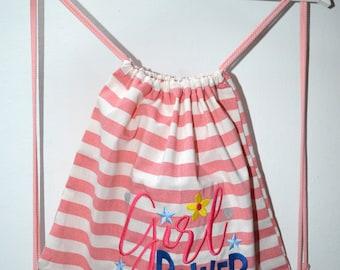 """""""Girl Power"""" striped backpack"""