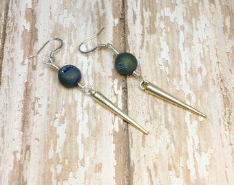 Blue Green Druzy and Spike Dagger Earrings on Stainless Steel Earwires Blue Druzy Earrings with Spike Dagger Blue Druzy Earrings Spikes