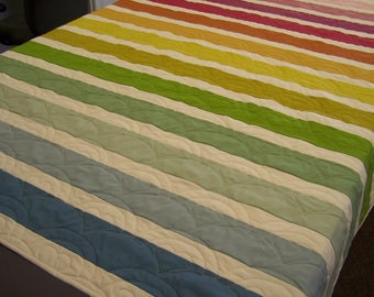 Muted Rainbow Quilt - Twin Size