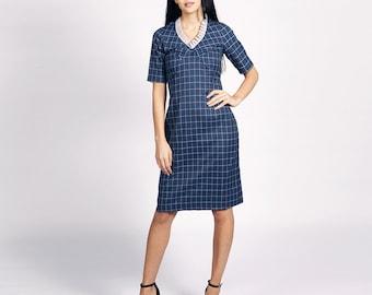Holmes Blue-Grey Sheath Dress
