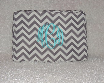 Bridesmaids Gift, Mothers Day, Makeup bag, Monogrammed makeup bag,  cosmetic bag, chevron cosmetic bag, Top seller
