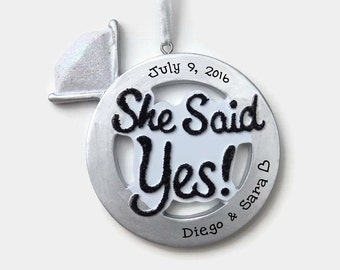 Silver Engagement Ring Ornament // She Said Yes! // Engagement Gift // Personalized Christmas Ornaments for Couples