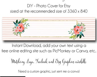 Etsy Cover Photo - Add your own Text, Instant Download, Virginia Smiles, New Cover Photo For Etsy, Made to Match Graphics, DIY