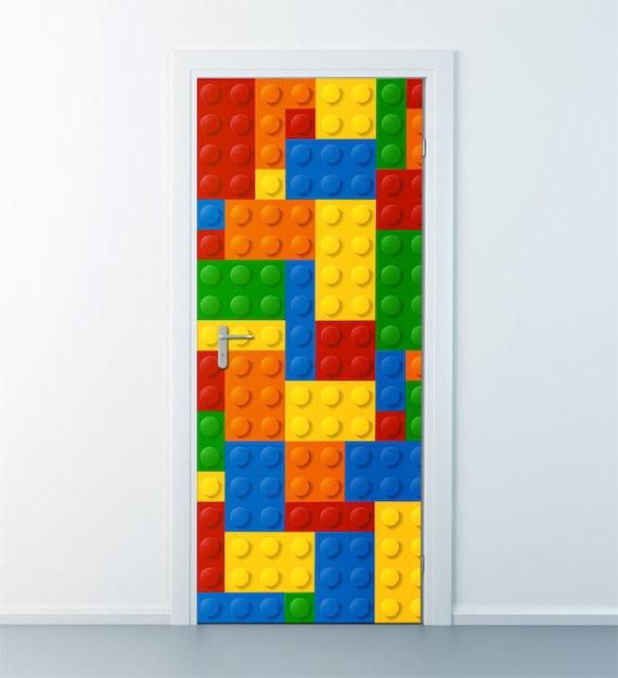 Lego Wall Decal Lego Wall Sticker Door Decor Abstract Art