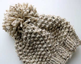 Knitted Knit Beanie Hat with Pom Pom. Handmade in Oatmeal Chunky, Wool Yarn.