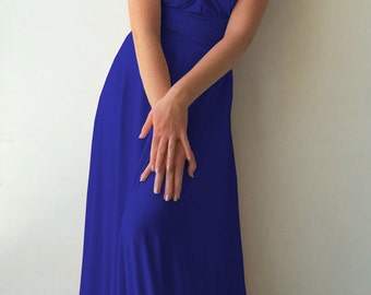 Convertible/Infinity Dress - floor length with long straps  royal blue color wrap dress