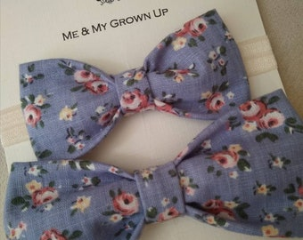 Blue & Pink Floral Bow Tie Set, Matching bow ties, boys bow tie, men, gift, gift set, father's day gift, mens accessories, boys accessories