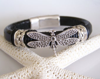 SALE Black Licorice Leather with Dragonfly Focal Bracelet - Item R6019