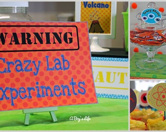 Science Boys Printable Party Signage Instant Download PDF