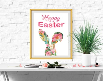 Easter printable Easter bunny print Easter poster Watercolor Floral Easter Bunny Art Happy Easter card INSTANT DOWNLOAD 5x7 8x10 11x14 16x20