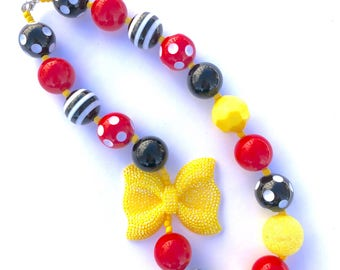 Red black and yellow bow girls necklace. Princess. Minnie inspired. Gift for girls. Bubblegum necklace. Mouse inspired. Glittery bow.