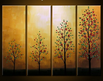 """Art Landscape Original Trees Large Abstract Modern Painting ... ready to hang .. 40 x 30 .. """"Stages of Growth"""", by Amy Giacomelli"""