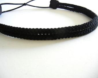 Double Strand Black Rope Headband