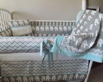 baby boy crib bedding sets baby bedding Elephant aqua and gray READY TO SHIP abusymother custom