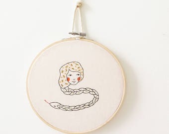 one of a kind embroidery hoop wall art - serpent spirit
