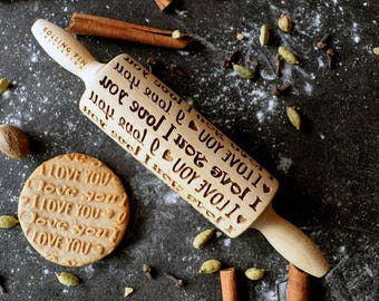 Rolling pin small, Embossing rolling pin, laser engraved rolling pin - I LOVE YOU