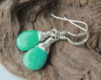 Genuine Arizona Turquoise Earrings, Sterling Silver wire wrap, Sleeping Beauty Turquoise, blue gemstone, December birthstone, 4496