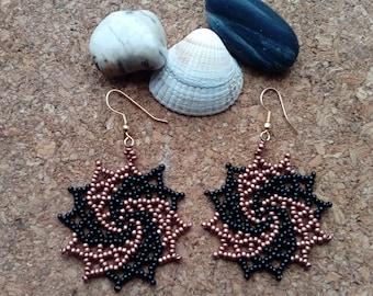 Galactic Star Beaded Earrings, Huichol Style Earrings, Native American, Handmade
