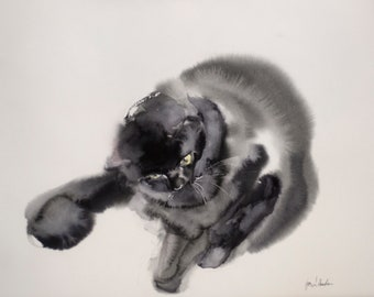 Playful - original watercolor painting, gift for cat lowers
