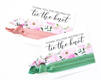 Hair Tie Bridesmaid Gift | Rose Floral Hair Tie Favor, Blush Pink Peonies, Wedding Bridal Shower Favor, Sage Green Hair Tie Bridesmaid Gift