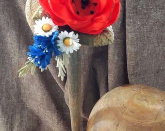 Sommerliebe Strohhütchen Fascinator Mohn Kornblume Klatschmohn Headpiece Kopfschmuck knallrot royalblau Margeriten Gänseblümchen Dirndl rot